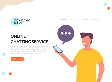 Online internet chatting banner web page concept. Vector flat cartoon graphic design illustration Çizim
