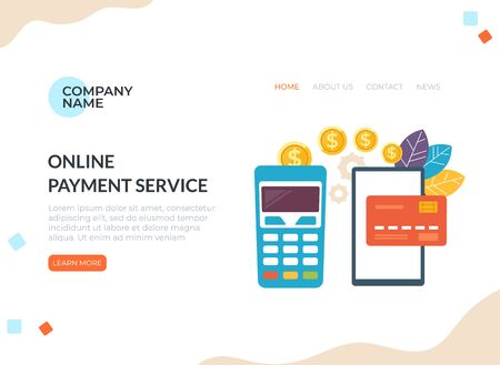 Online transaction payment banner concept. Vector flat cartoon graphic design illustration