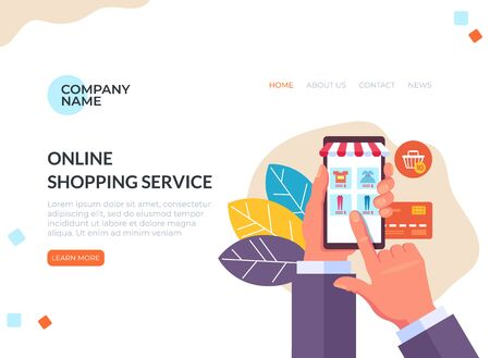 Online internet shopping web page banner concept. Vector flat cartoon graphic design illustration
