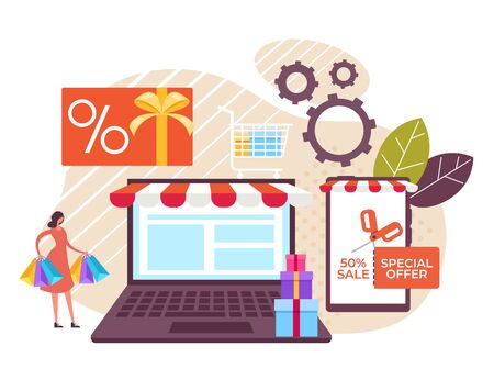 Online internet shopping sale concept. Vector flat cartoon graphic design illustration