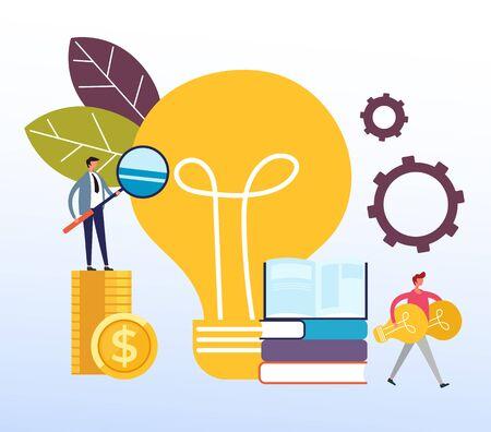 Concepto de innovación de idea de inversión. Ilustración de diseño gráfico de dibujos animados plano de vector Ilustración de vector