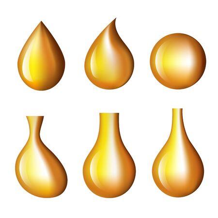Insieme dell'icona isolato goccia di olio. Illustrazione isolata di progettazione grafica di vettore Vettoriali