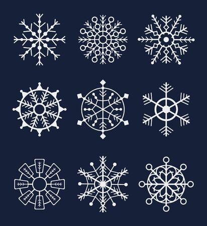Snowflake winter isolated set on dark background. Vector graphic design isolated illustration