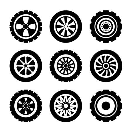 Car black line wheels isolated icon set. Vector graphic design isolated illustration collection