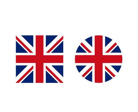 Regno Unito Set di bandiere di forma rotonda e quadrata britannica. Illustrazione isolata di progettazione grafica di vettore