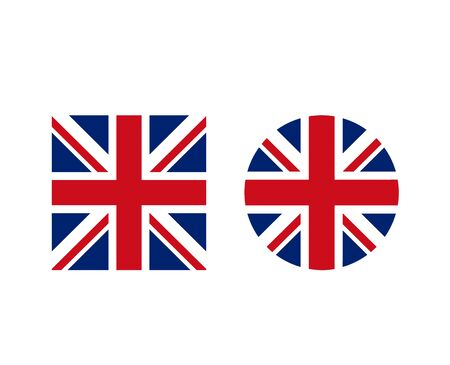 United Kingdom British round and square shape form flag set. Vector graphic design isolated illustration