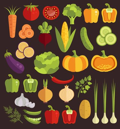 Vegetables flat isolated icon set. Vector graphic design isolated illustration collection