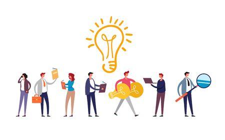 Generation ideas progress teamwork concept. Vector flat graphic design illustration Иллюстрация