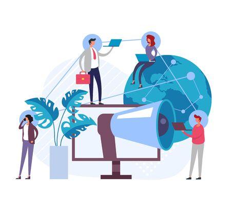 Referral global marketing concept. Vector flat graphic design illustration