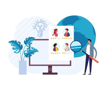Employment hiring recruitment head hunting concept. Vector flat graphic design illustration Çizim