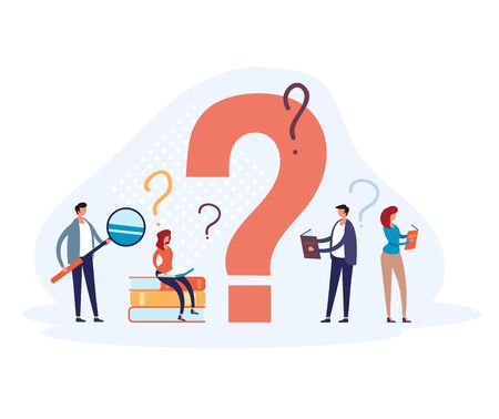 FAQ question mark concept. Vector flat graphic design illustration Illustration