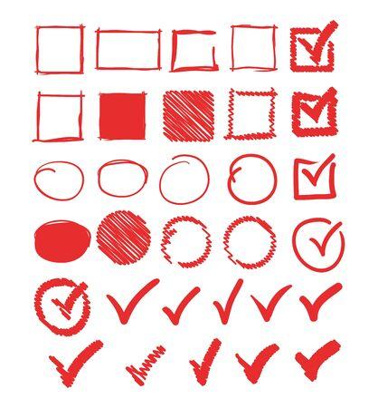 Doodle segni di spunta cerchio cornice quadrata raccolta di set. Illustrazione di design grafico piatto vettoriale