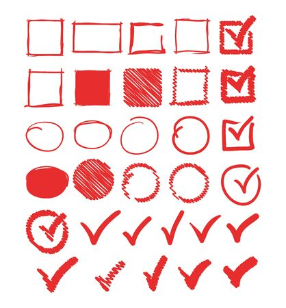 Doodle check marks circle square frame set collection. Vector flat graphic design illustration Illustration