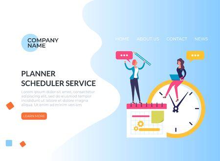 Planner organization web banner poster concept. Vector flat graphic design illustration