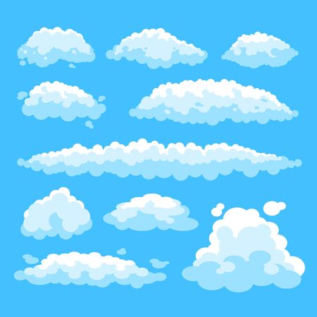 white simple isolated clouds set. Vector flat graphic design illustration
