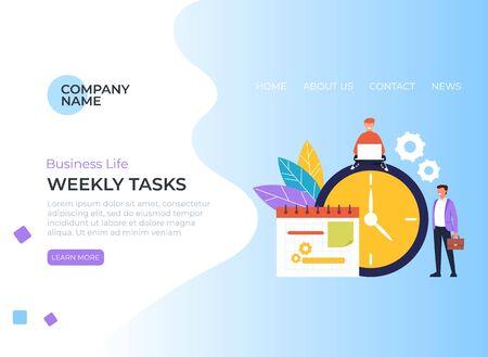 Weekly tasks banner poster concept. Vector flat graphic design illustration