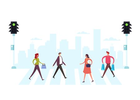 Pedestrians people characters. City life street concept. Vector flat graphic design illustration