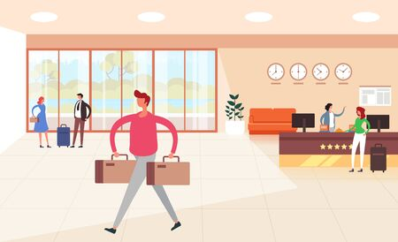 Hotel hall and guests characters. Hotel booking registration concept. Vector flat graphic design illustration
