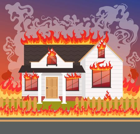 House home fire flame. Vector flat graphic design illustration