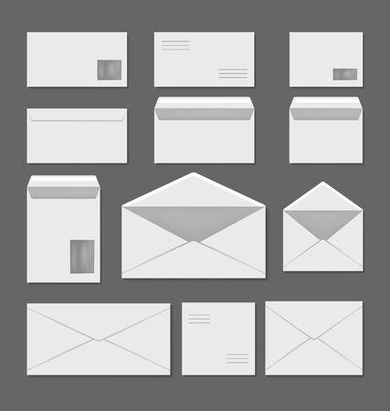 Puste białe koperty szablon na białym tle zestaw. Płaska grafika wektorowa ilustracja Ilustracje wektorowe