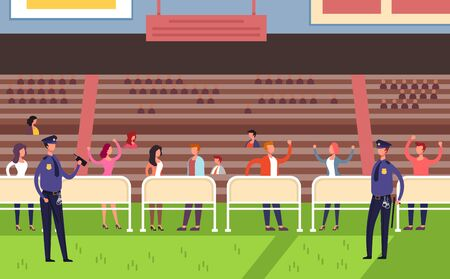 Stadium event arena with crowd people fans. Vector flat graphic design cartoon illustration