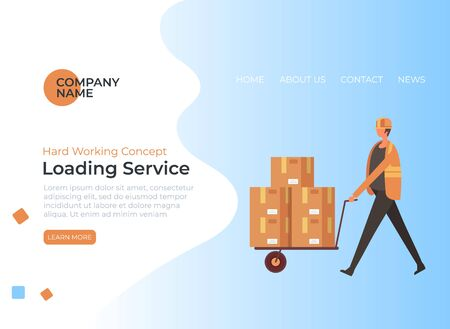 Loading shipment service concept. Vector flat graphic design cartoon illustration