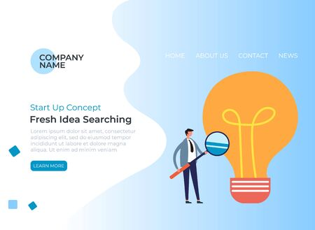 New fresh idea start up searching banner poster concept. Vector flat graphic design cartoon illustration