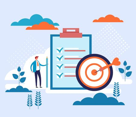 Business target and to do list concept. Vector flat graphic design cartoon illustration