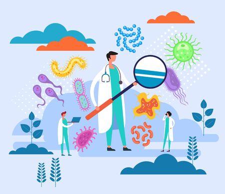 Concepto de laboratorio de investigación de epidemiología. Ilustración de dibujos animados de diseño gráfico plano de vector