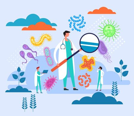 Epidemiology research laboratory concept. Vector flat graphic design cartoon illustration Çizim