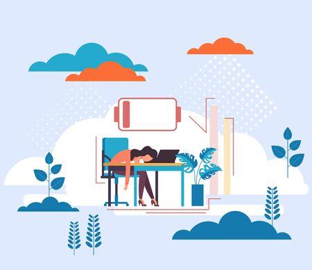 Concetto di lavoro di persone a basso costo. Carattere della donna segretaria stanca. Illustrazione del fumetto di design grafico piatto vettoriale Vettoriali