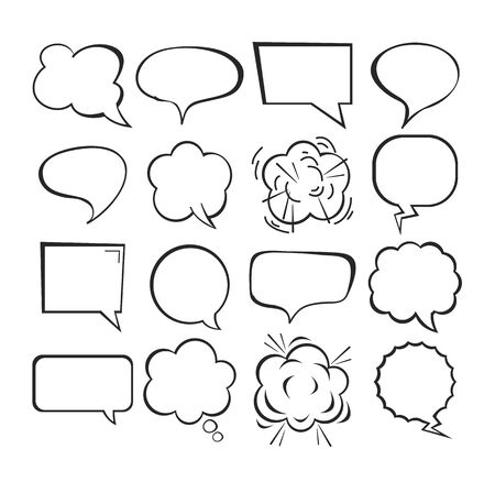 Isolated comic speech bubbles set collection concept. Vector flat graphic design cartoon illustration