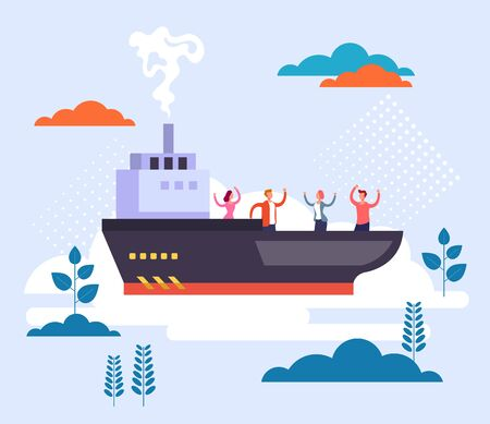 Yacht tropical cruise ship holidays concept. Vector flat graphic design illustration