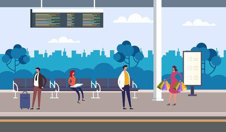 People passengers character waiting bus. Public transport concept. Vector flat graphic design illustration Ilustracja