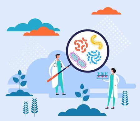 Concepto de investigación de virus de microbiología de epidemiología. Ilustración de diseño gráfico plano vectorial