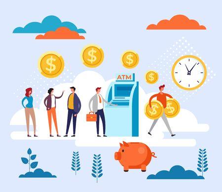 Personas esperando en línea transacción de cajero automático. Concepto de cola bancaria. Ilustración de diseño gráfico de dibujos animados plano de vector Ilustración de vector