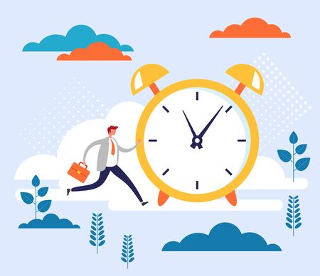 Time running concept. Vector flat cartoon graphic design illustration