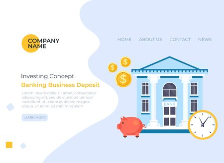 Banking money savings banner poster web page concept. Vector flat cartoon graphic design illustration Stock Illustratie