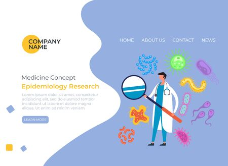 Epidemiology biological laboratory research banner poster concept. Vector flat cartoon graphic design illustration Ilustrace