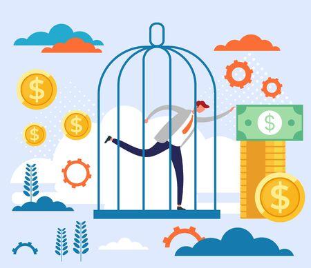 Prison of money concept. Vector flat cartoon graphic design illustration Ilustração