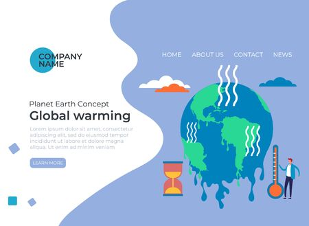 Global warming ecological problems concept. Vector flat cartoon graphic design illustration