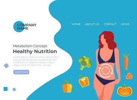 Healthy nutrition digestion concept. Vector flat cartoon graphic design illustration