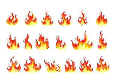 Fire flame cartoon set. Vector flat graphic design illustration