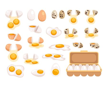 Raw cut slice boiled fried fresh omelette scrambled egg isolated set collection. Vector flat graphic design isolated illustration Illusztráció