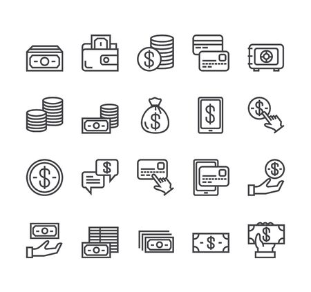 Money dollar coin cash line isolated simple icon set. Vector flat graphic design illustration