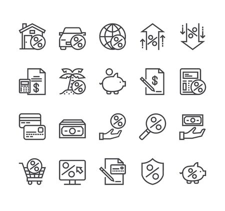 Credit and loan bank line icon isolated set. Vector flat cartoon graphic design Ilustracja