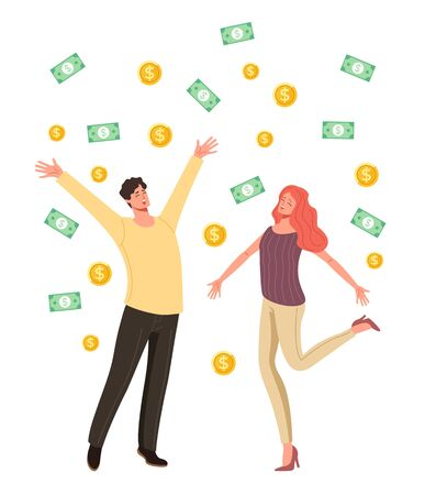 Happy people man woman characters jumping under money rain. Financial success concept. Vector flat cartoon graphic design illustration