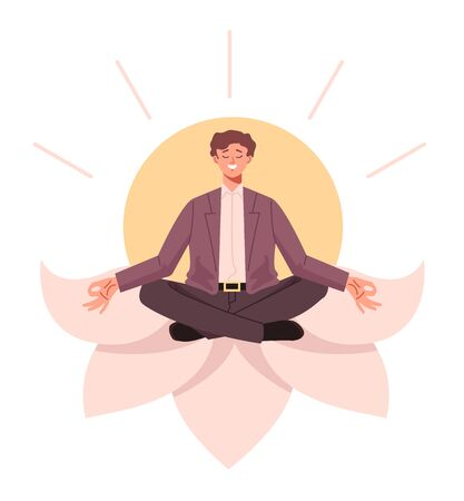 Businessman office worker character sitting in lotus position and relaxin. Vector flat cartoon graphic design illustration