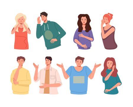 People friends characters tell rumors gossip. Vector flat cartoon graphic design illustration set collection Vektorgrafik