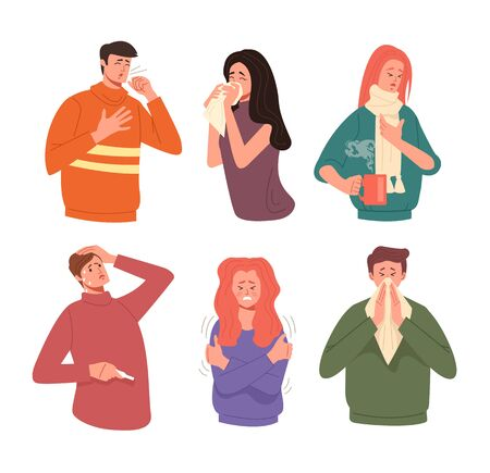 People sick ill cold flu illness symptoms isolated characters set. Vector flat cartoon graphic design illustration